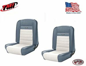 1964 1966 Mustang Front Buckets Deluxe Pony Upholstery Blue And White