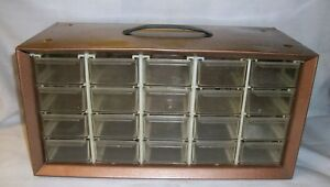 Vintage Copper Akro mils 20 Drawer Small Parts Hardware Organization Cabinet