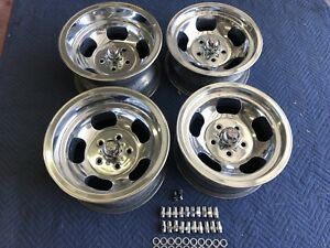 Vintage Set 4 Polished 15x8 5 7 Us Indy Style Mag 5 On 4 3 4 Chevy Pontiac Van