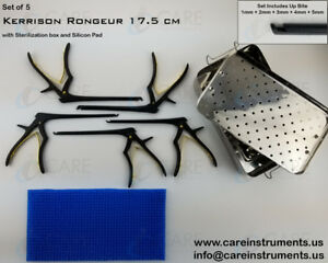 Kerrison Rongeurs 17 5cm 1mm 5mm With Sterilization Box Silicon Mat Orthopedic