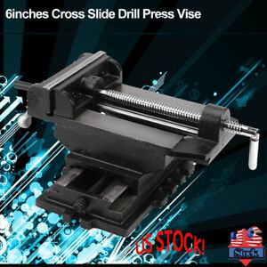 6 Inchs Cross Slide Drill Press Vise Metal Milling Vises Clamping Bench Mount Us