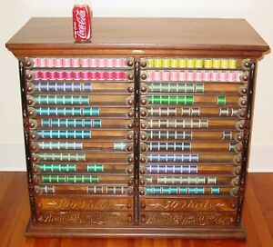 Large Rare Antique 28 Drawer Brainerd Armstrong Spool Thread Cabinet 15490