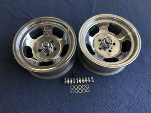 Vintage Pair 15x7 Polished Real Us Indy Style Mags 5 On 4 1 2 Ford Mopar Dodge