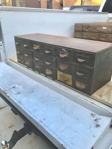 Vintage Industrial Metal 18 Drawer Steel Parts Storage Organizer Cabinet Lyons