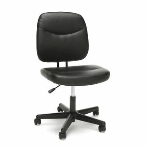 Armless Black Leather Adjustable Seat Height Executive Swivel Desk Chair