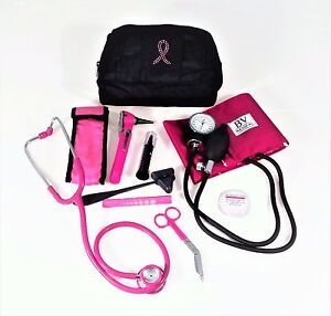 Pink Breast Cancer Blood Pressure Bling Bag Pink Stethoscope And Pink Otoscope
