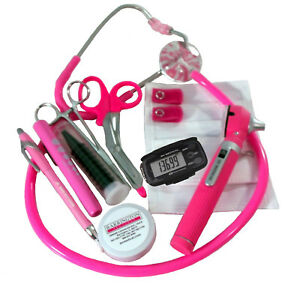Breast Cancer Awareness Nurse Kit With W Mini Otoscope Hot Pink Stethoscope