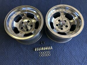 Vintage Pair Polished 15x8 5 Us Indy Style Mags 5 On 4 3 4 Chevy Pontiac Van