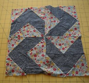 6495 1 Antique 1910 20 Shoo Fly Quilt Block Woven Check Floral