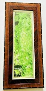 Vintage Burl Walnut Inlaid Made In Italy Folk Art Deco Mission Picture Frame