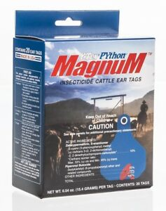 Python Magnum Insecticide Cattle Ear Tag 20 pk