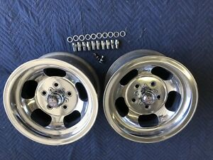 Vintage 14x7 Pair Polished Real Us Indy Mags Nice 5 On 4 3 4 Chevy Hotrod Nice