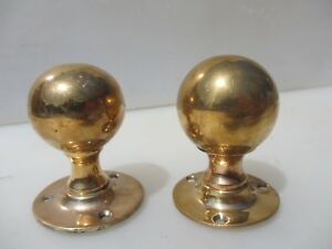 Antique Bronze Door Knobs Handles Architectural Vintage Old Victorian Brass