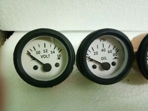 2 52mm Electrical Oil Pressure Volt Gauge white Face Black Bezel