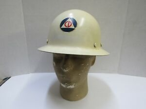Vintage Civil Defense Helmet Msa Skullgard Full Brim Hard Hat Mining