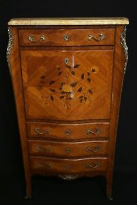 Louis Xv Secretaire With Folding Table Marble Top Og Antique Free Shipping