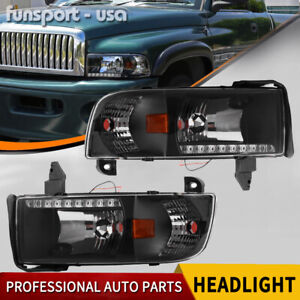 For 1994 2002 Dodge Ram 1500 2500 3500 Headlights W Led Drl Corner Signal Lamp