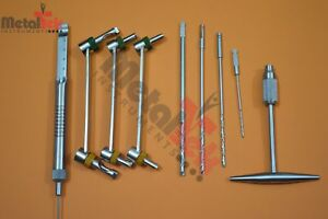 Depth Gauge Drill Guide And Drill Bit 9pc Surgical Orthopedic Instruments By Mti