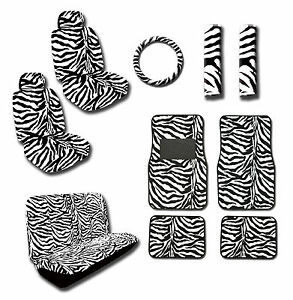 15pc Zebra Seat Cover Combo