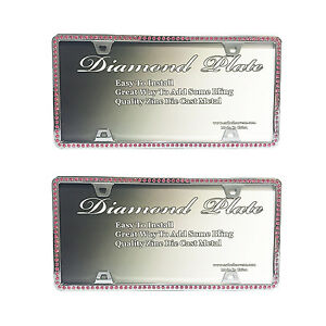 2 Metal Chrome Single Row Pink Rhinestone License Plate Frame Bling Embedded