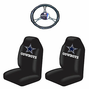 3pc Football Licensed Cowboys Seat Covers With Car Steering Wheel Cover Auto