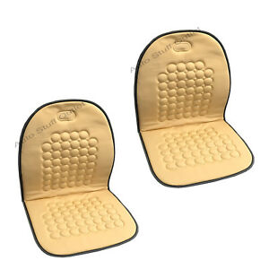 2 Pc Cream Beige Magnetic Therapy Massage Car Seat Cushion
