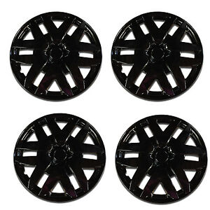 4 Pcs Ice Black 16 Hub Caps Wheel Cover Set Abs Wheel Skins 997 Universal