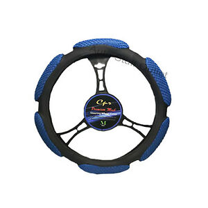 New 6 Grip Mesh Blue Black Steering Wheel Cover Soft Universal 14 5 15 5