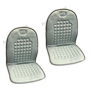 2 Pc Light Gray Magnetic Therapy Massage Car Seat Cushion