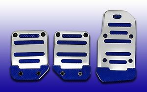3pc Silver Blue Universal Manual Pedal Pad Cover Extreme Pak