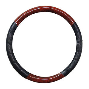 Pu Leather Wood Style Ribbed Perforated Steering Wheel Cover 14 5 15 5