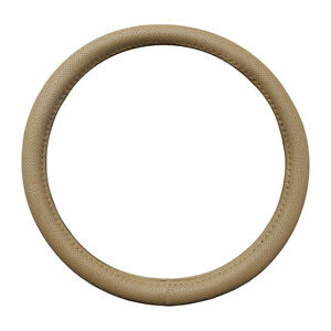 Pu Leather Beige Perforated Steering Wheel Cover Universal 14 5 15 5 Universal