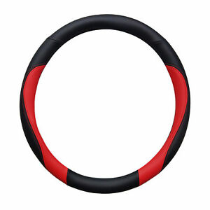 Double Sided Black And Red Sporty Steering Wheel Cover 14 5 15 5 Universal