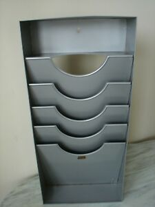 Vintage Weis Gray Metal 4 Tray Paper Wall File Office Organizer Great Condition