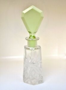 Antique French 1920 S Art Deco Crystal Perfume Bottle With Green Glass Dauber