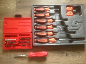 Snap on Red Handled 8 piece Screwdriver Set Shdx80br Ratcheting