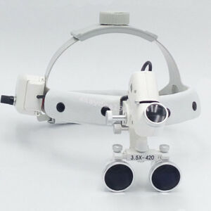 Usa Dental Binocular Loupes Surgical Glass Magnifier Led Headlight 3 5x 420mm