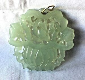Vintage Chinese Beautiful Carved Green Jadeite Jade 14k Gold Large Pendant