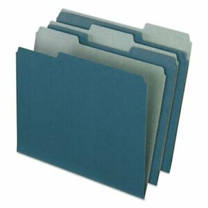 Pendaflex Recycled File Folders 1 3 Cut Tab Letter Blue 100 box pfx04302