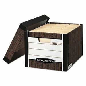 Bankers Storage Box Letter Locking Lid Woodgrain 4 Per Carton fel0072506