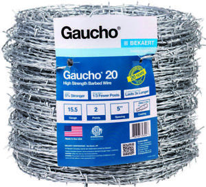 Gaucho 118290 2 point Barbed Wire 1320 Ft L 5 In Barb High Tensile Steel