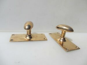 Victorian Bronze Door Knobs Handles Gibbons Vintage Old Antique Brass Oval