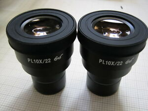 Pair Of Soptop Pl10x 22 Widefied Eyepieces Fits Zeiss leica nikon olympus 30mm