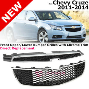 For Chevy Cruze 2011 2014 Front Upper Lower Grille Bumper Insert Black Chrome