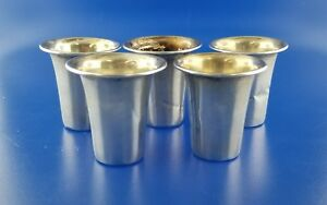 Antique Set Of 5 Esco 925 Sterling Silver Shot Cups 47 9g Ml2734