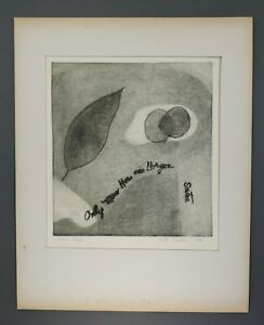 Mid Century Betty W Russell Intaglio Etching Contemporary Sarte Abstract Proof