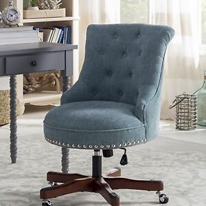 Casual Desk Chair For Woman Home Office Blue Upholstered Caster Wheel Wood Frame