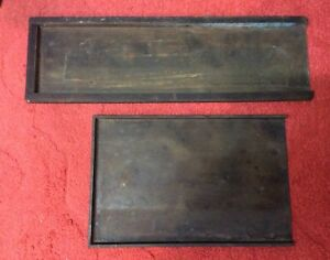 Antique Letterpress Wood Brass Column Galley Tray All Brass Galley Tray Pair