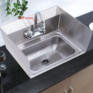 Stainless Steel Hand Washing Sink W chrome Gooseneck Faucet Home Wall Mount Us