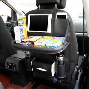 Black Car Seat Back Bag Organizer Storage Ipad Phone Holder Multi Pocket Leather